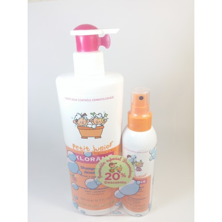 Klorane Petit Junior Champú desenredante 500 ml + Spray desenredante 150 ml